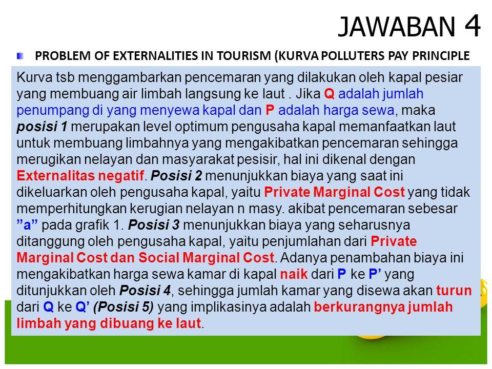 JAWABAN 4 PROBLEM OF EXTERNALITIES IN TOURISM (KURVA POLLUTERS PAY PRINCIPLE Kurva tsb menggambarkan pencemaran yang dilakukan oleh kapal pesiar yang