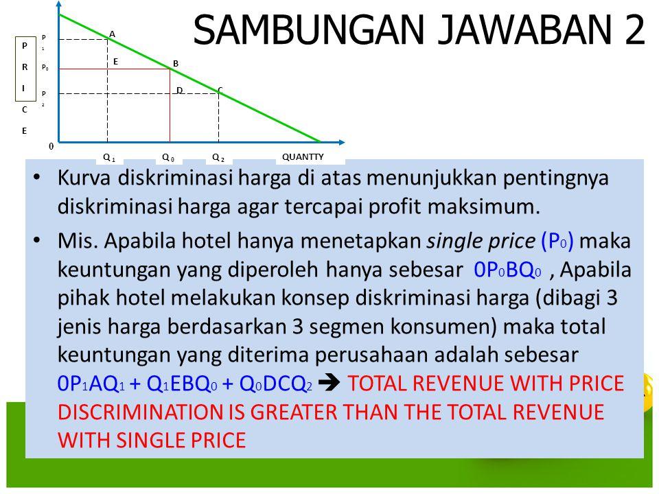 SAMBUNGAN JAWABAN 2 • Kurva diskriminasi harga di atas menunjukkan pentingnya diskriminasi harga agar tercapai profit maksimum. • Mis. Apabila hotel h