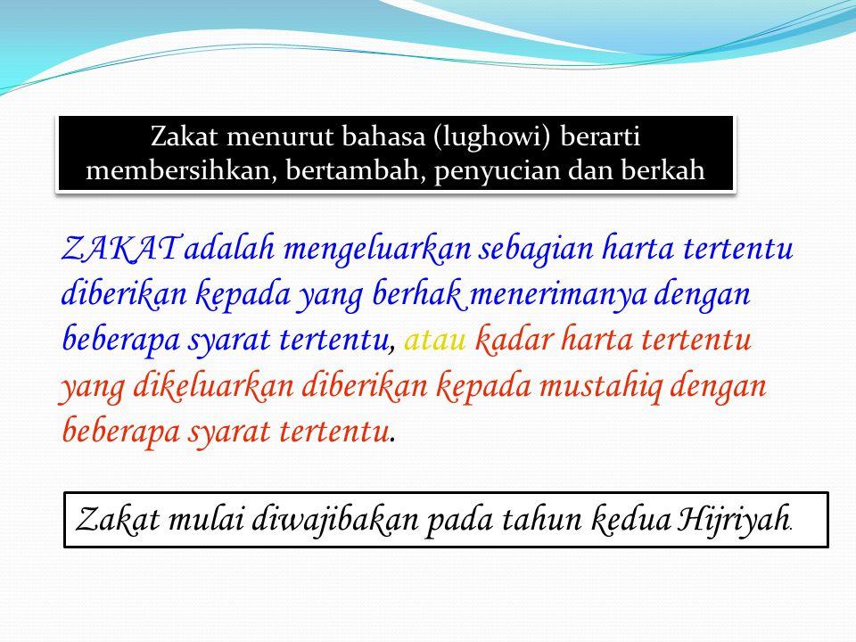 Pengertian Zakat fitrah SSecara ethimologi zakat: bersih, tumbuh, bertambah, kesuburan dan berkah FFitrah artinya sifat pembawaan sejak lahir.