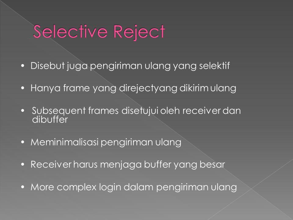 • Disebut juga pengiriman ulang yang selektif • Hanya frame yang direjectyang dikirim ulang •Subsequent frames disetujui oleh receiver dan dibuffer • Meminimalisasi pengiriman ulang • Receiver harus menjaga buffer yang besar • More complex login dalam pengiriman ulang