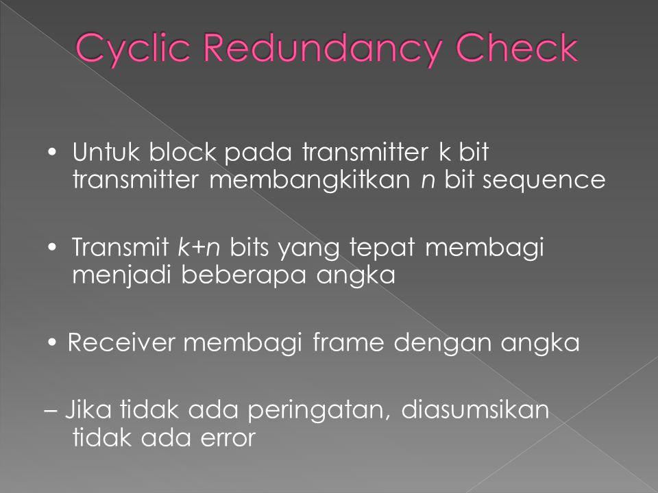 •Untuk block pada transmitter k bit transmitter membangkitkan n bit sequence •Transmit k+n bits yang tepat membagi menjadi beberapa angka • Receiver membagi frame dengan angka – Jika tidak ada peringatan, diasumsikan tidak ada error