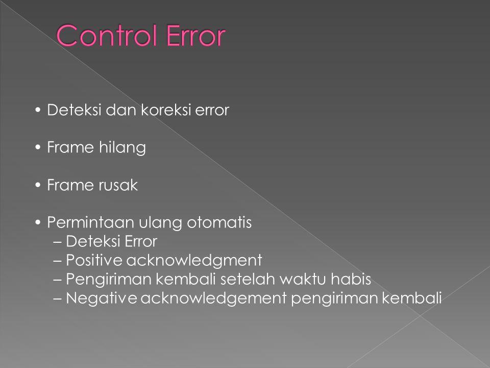 • Deteksi dan koreksi error • Frame hilang • Frame rusak • Permintaan ulang otomatis – Deteksi Error – Positive acknowledgment – Pengiriman kembali setelah waktu habis – Negative acknowledgement pengiriman kembali