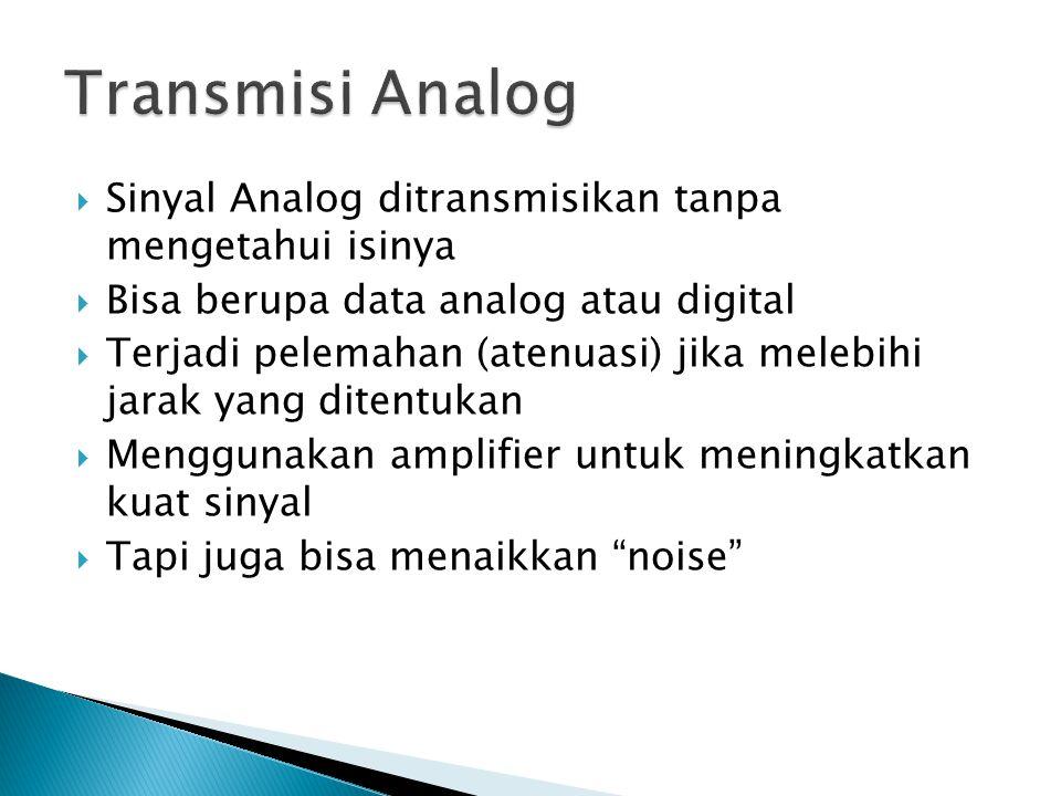  Sinyal Analog ditransmisikan tanpa mengetahui isinya  Bisa berupa data analog atau digital  Terjadi pelemahan (atenuasi) jika melebihi jarak yang ditentukan  Menggunakan amplifier untuk meningkatkan kuat sinyal  Tapi juga bisa menaikkan noise