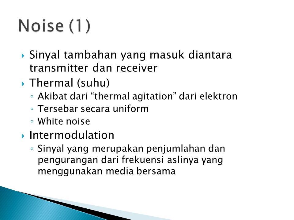  Sinyal tambahan yang masuk diantara transmitter dan receiver  Thermal (suhu) ◦ Akibat dari thermal agitation dari elektron ◦ Tersebar secara uniform ◦ White noise  Intermodulation ◦ Sinyal yang merupakan penjumlahan dan pengurangan dari frekuensi aslinya yang menggunakan media bersama