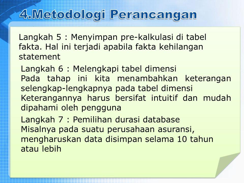 Langkah 5 : Menyimpan pre-kalkulasi di tabel fakta. Hal ini terjadi apabila fakta kehilangan statement Langkah 6 : Melengkapi tabel dimensi Pada tahap