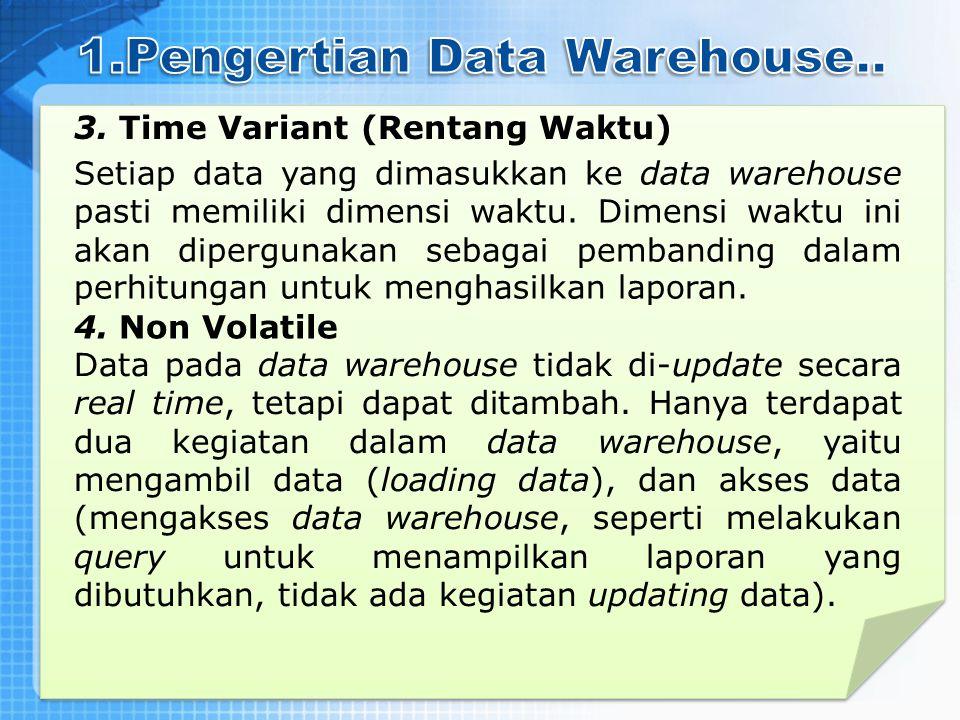 3. Time Variant (Rentang Waktu) Setiap data yang dimasukkan ke data warehouse pasti memiliki dimensi waktu. Dimensi waktu ini akan dipergunakan sebaga