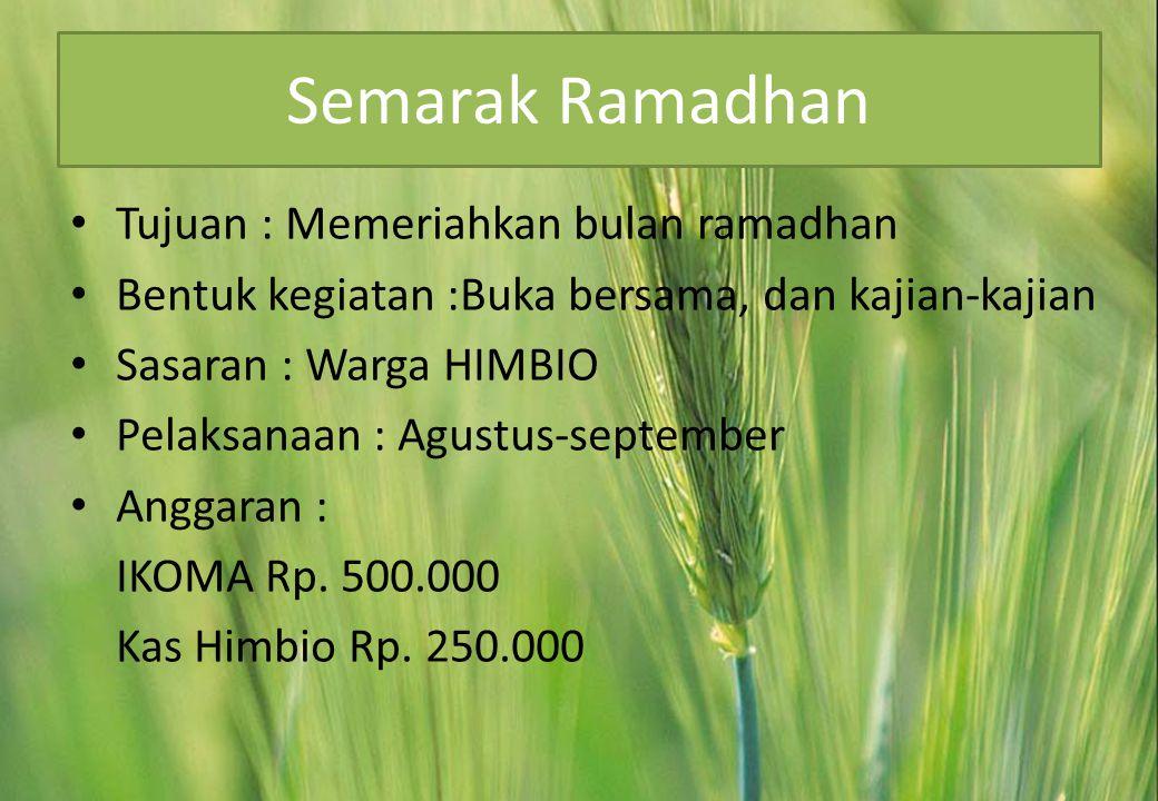Semarak Ramadhan • Tujuan : Memeriahkan bulan ramadhan • Bentuk kegiatan :Buka bersama, dan kajian-kajian • Sasaran : Warga HIMBIO • Pelaksanaan : Agustus-september • Anggaran : IKOMA Rp.