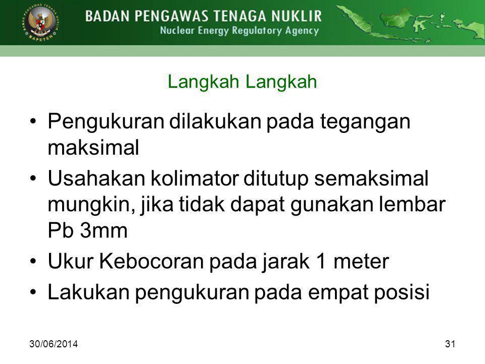Langkah 3130/06/2014 •Pengukuran dilakukan pada tegangan maksimal •Usahakan kolimator ditutup semaksimal mungkin, jika tidak dapat gunakan lembar Pb 3