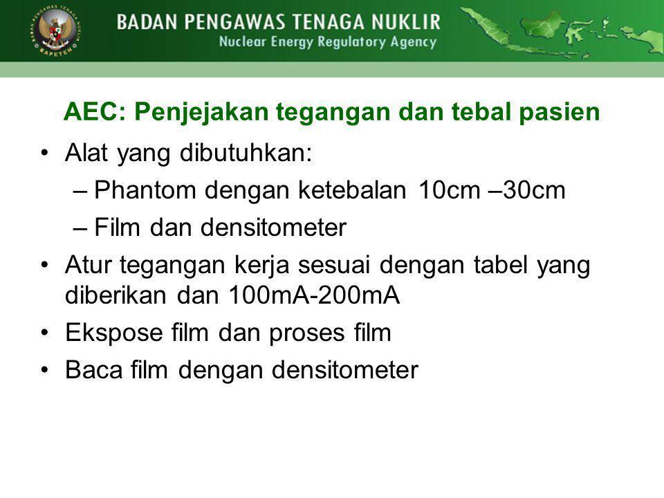 AEC: Penjejakan tegangan dan tebal pasien •Alat yang dibutuhkan: –Phantom dengan ketebalan 10cm –30cm –Film dan densitometer •Atur tegangan kerja sesu