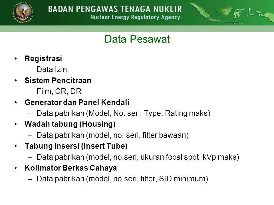 Data Pesawat •Registrasi –Data Izin •Sistem Pencitraan –Film, CR, DR •Generator dan Panel Kendali –Data pabrikan (Model, No. seri, Type, Rating maks)