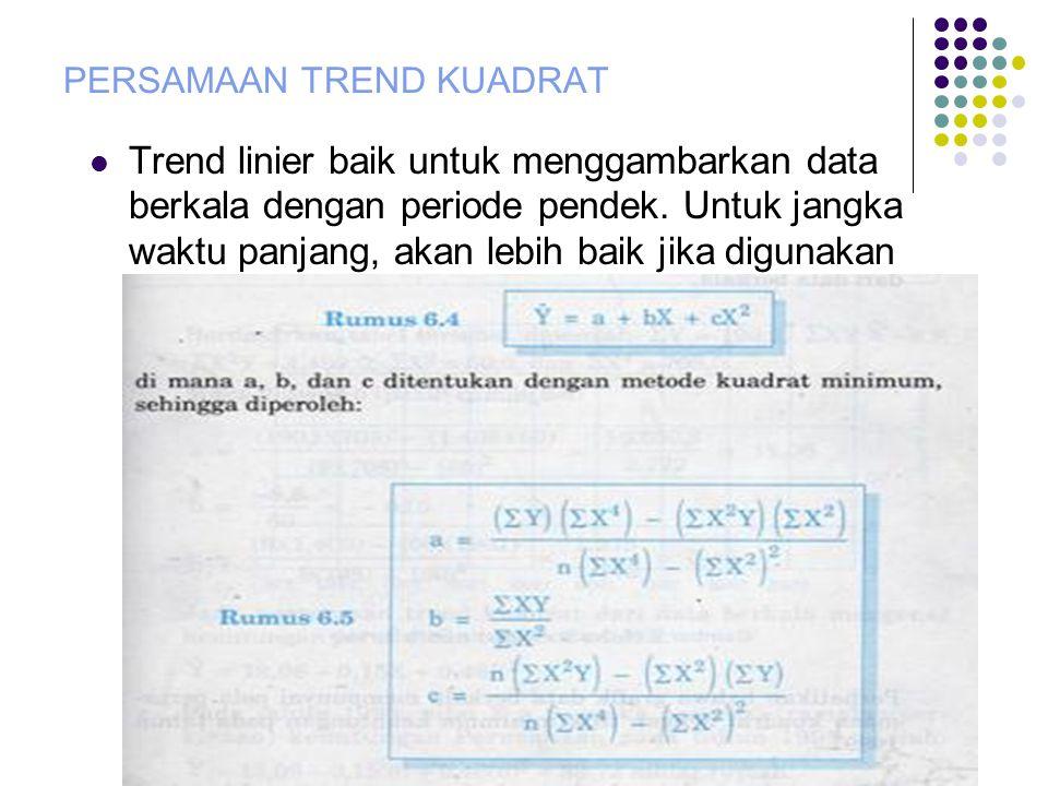PERSAMAAN TREND KUADRAT  Trend linier baik untuk menggambarkan data berkala dengan periode pendek.