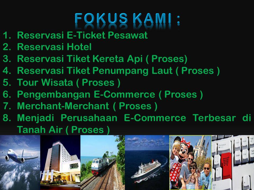 1.Reservasi E-Ticket Pesawat 2.Reservasi Hotel 3.Reservasi Tiket Kereta Api ( Proses) 4.Reservasi Tiket Penumpang Laut ( Proses ) 5.Tour Wisata ( Proses ) 6.Pengembangan E-Commerce ( Proses ) 7.Merchant-Merchant ( Proses ) 8.Menjadi Perusahaan E-Commerce Terbesar di Tanah Air ( Proses )