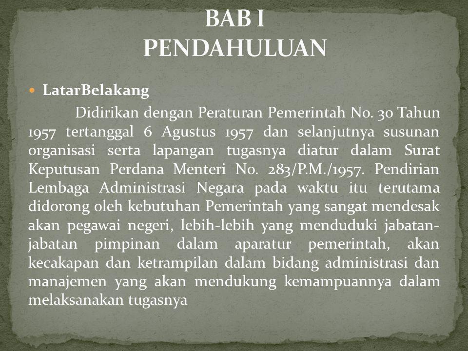  LatarBelakang Didirikan dengan Peraturan Pemerintah No. 30 Tahun 1957 tertanggal 6 Agustus 1957 dan selanjutnya susunan organisasi serta lapangan tu