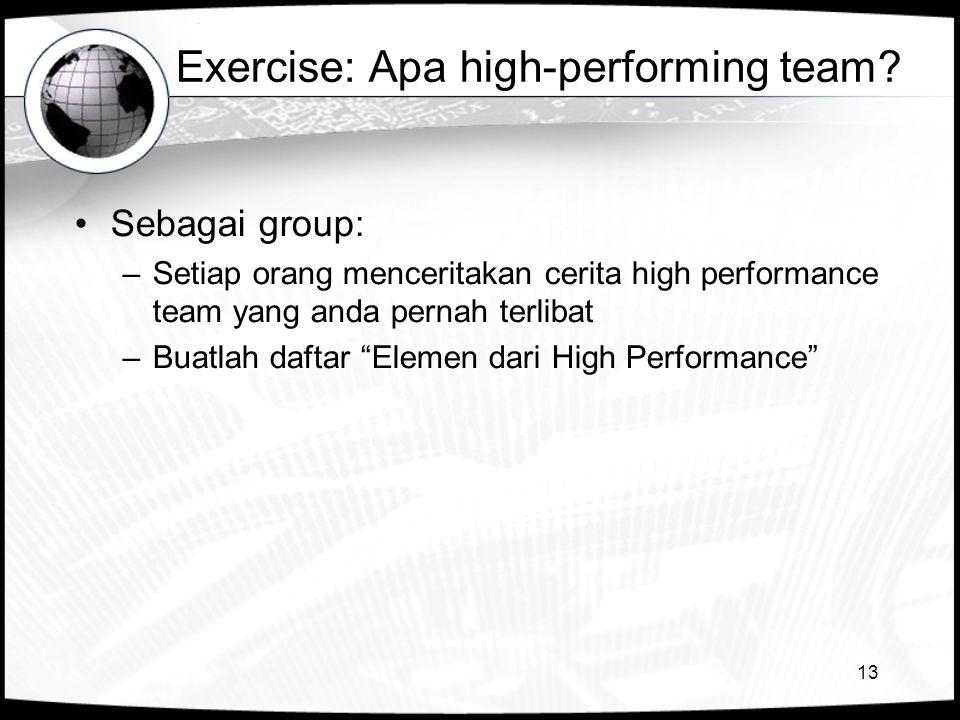 13 Exercise: Apa high-performing team? •Sebagai group: –Setiap orang menceritakan cerita high performance team yang anda pernah terlibat –Buatlah daft