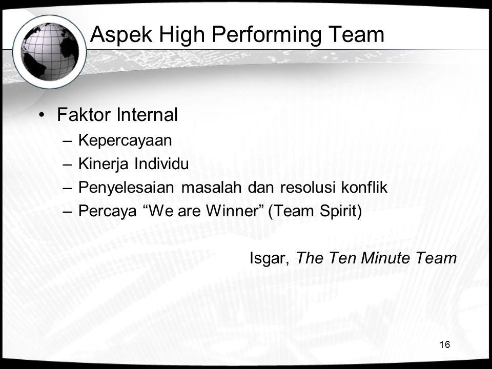 16 Aspek High Performing Team •Faktor Internal –Kepercayaan –Kinerja Individu –Penyelesaian masalah dan resolusi konflik –Percaya We are Winner (Team Spirit) Isgar, The Ten Minute Team