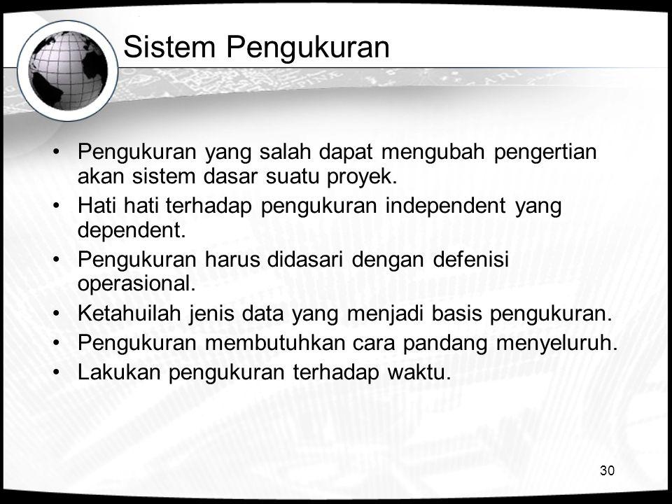 30 Sistem Pengukuran •Pengukuran yang salah dapat mengubah pengertian akan sistem dasar suatu proyek. •Hati hati terhadap pengukuran independent yang