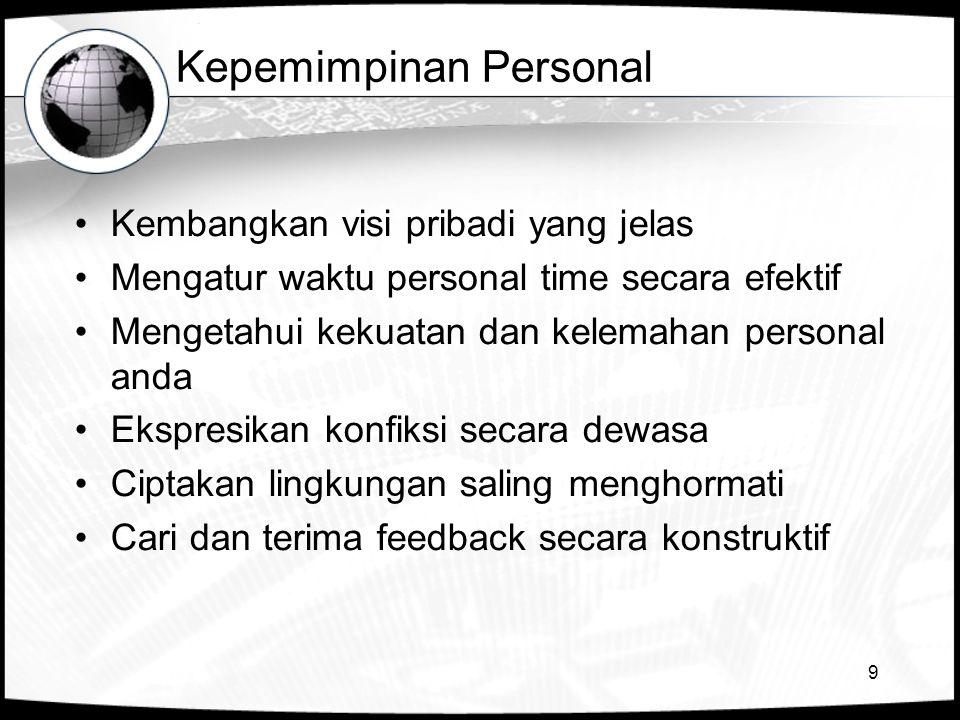 9 Kepemimpinan Personal •Kembangkan visi pribadi yang jelas •Mengatur waktu personal time secara efektif •Mengetahui kekuatan dan kelemahan personal anda •Ekspresikan konfiksi secara dewasa •Ciptakan lingkungan saling menghormati •Cari dan terima feedback secara konstruktif