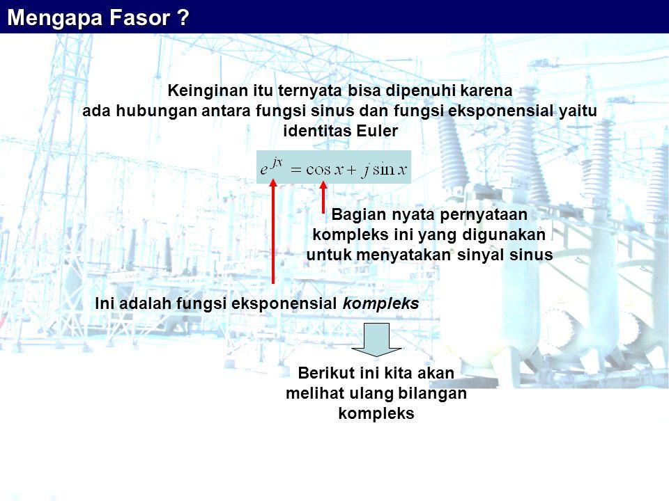 Keinginan itu ternyata bisa dipenuhi karena ada hubungan antara fungsi sinus dan fungsi eksponensial yaitu identitas Euler Ini adalah fungsi eksponensial kompleks Berikut ini kita akan melihat ulang bilangan kompleks Mengapa Fasor .