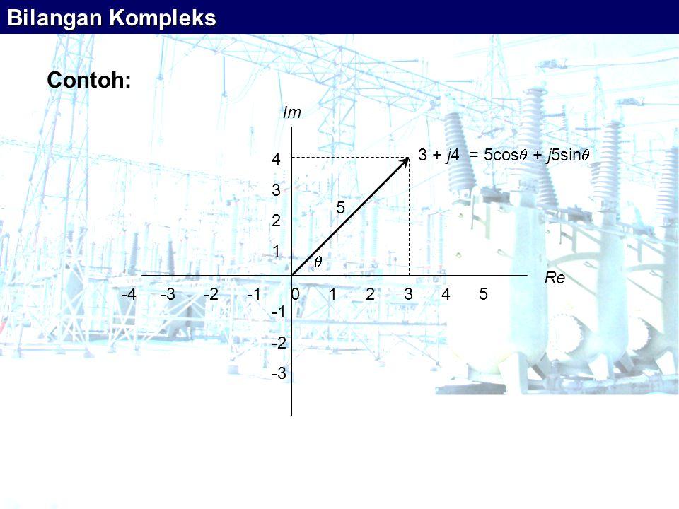 -4 -3 -2 -1 0 1 2 3 4 5 Re Im 4 3 2 1 -2 -3 3 + j4 = 5cos  + j5sin   5 Bilangan Kompleks Contoh: