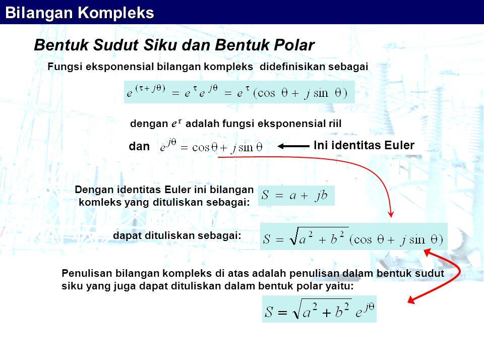 Bentuk Sudut Siku dan Bentuk Polar Fungsi eksponensial bilangan kompleks didefinisikan sebagai dengan e  adalah fungsi eksponensial riil Dengan identitas Euler ini bilangan komleks yang dituliskan sebagai: Bilangan Kompleks dan Ini identitas Euler Penulisan bilangan kompleks di atas adalah penulisan dalam bentuk sudut siku yang juga dapat dituliskan dalam bentuk polar yaitu: dapat dituliskan sebagai: