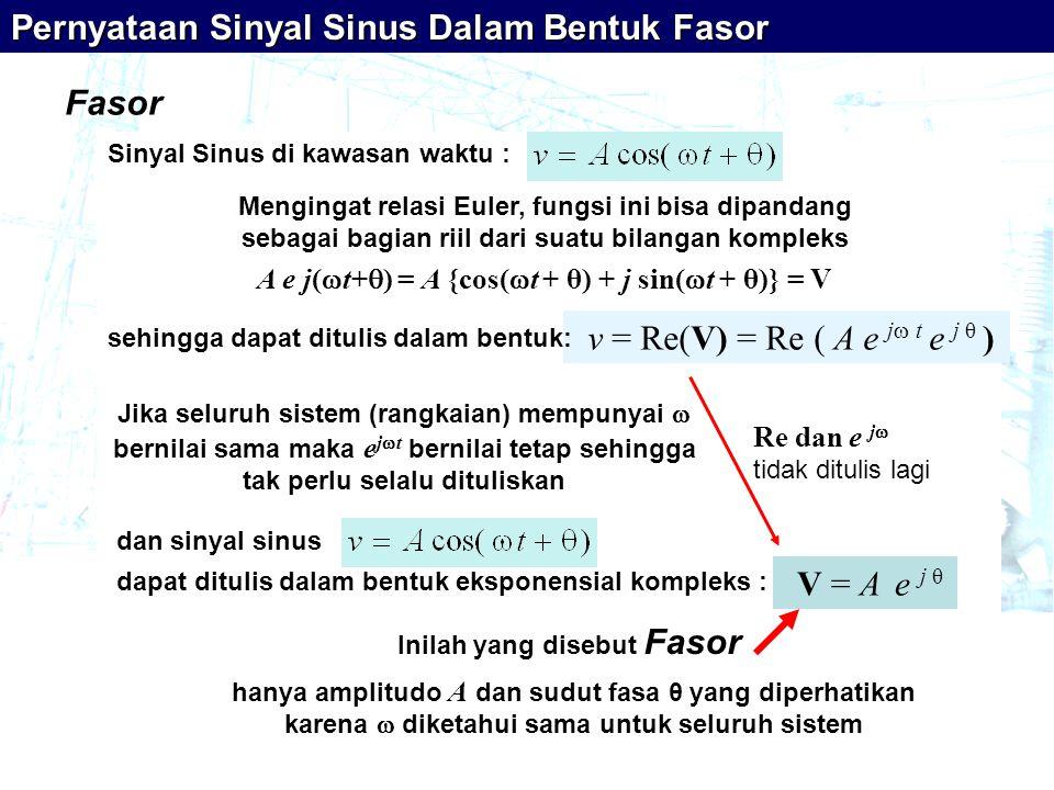 Fasor Pernyataan Sinyal Sinus Dalam Bentuk Fasor hanya amplitudo A dan sudut fasa θ yang diperhatikan karena  diketahui sama untuk seluruh sistem Sinyal Sinus di kawasan waktu : Mengingat relasi Euler, fungsi ini bisa dipandang sebagai bagian riil dari suatu bilangan kompleks A e j(  t+  ) = A {cos(  t + θ) + j sin(  t + θ)} = V v = Re(V) = Re ( A e j  t e j θ ) sehingga dapat ditulis dalam bentuk: Jika seluruh sistem (rangkaian) mempunyai  bernilai sama maka e j  t bernilai tetap sehingga tak perlu selalu dituliskan V = A e j θ dapat ditulis dalam bentuk eksponensial kompleks : dan sinyal sinus Re dan e j  tidak ditulis lagi Inilah yang disebut Fasor