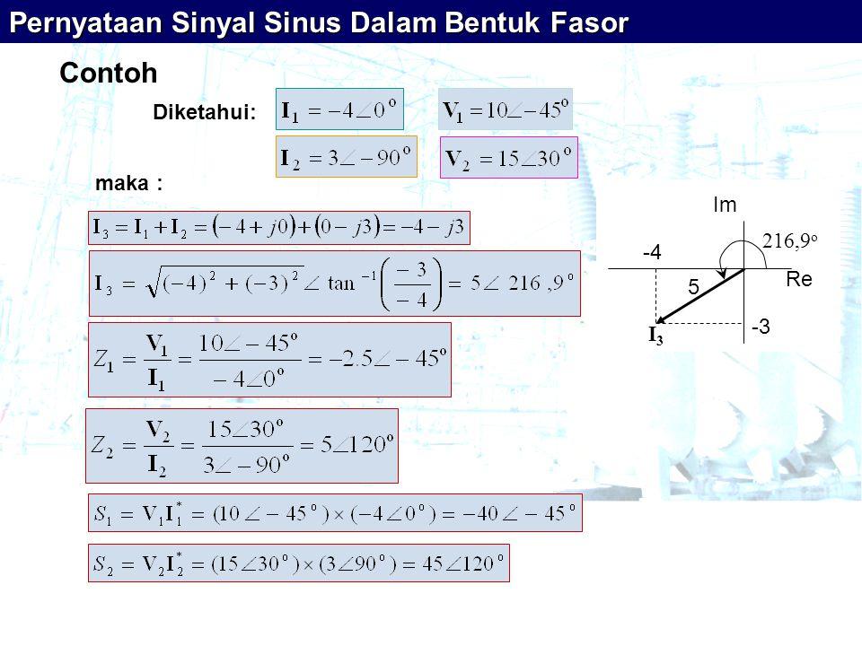 Pernyataan Sinyal Sinus Dalam Bentuk Fasor Contoh Diketahui: maka : Re I3I3 -4 -3 Im 216,9 o 5