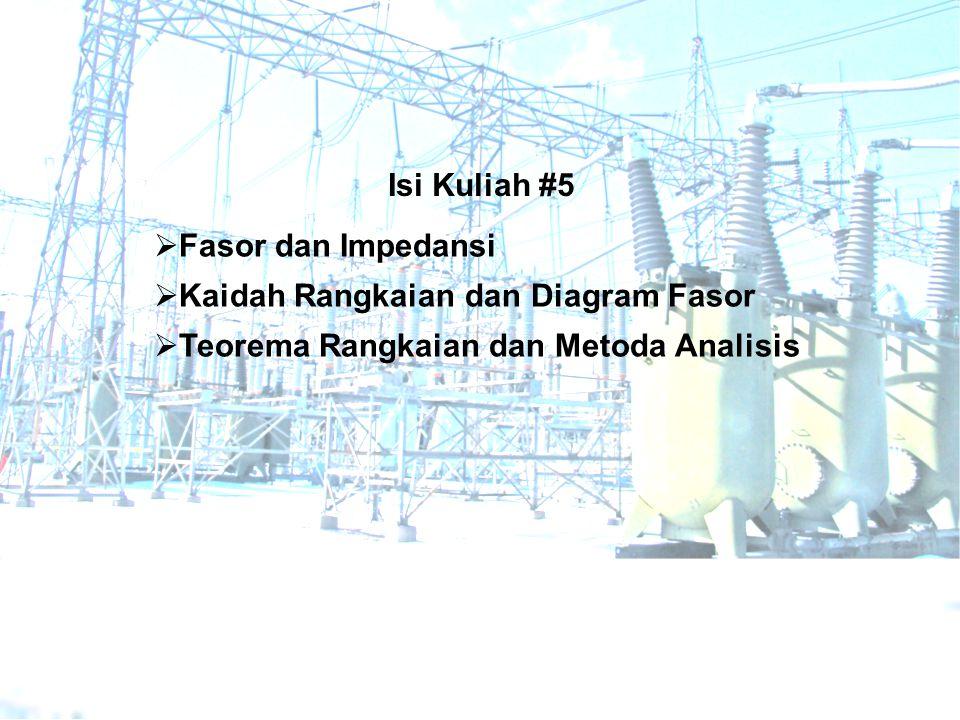  Fasor dan Impedansi  Kaidah Rangkaian dan Diagram Fasor  Teorema Rangkaian dan Metoda Analisis Isi Kuliah #5