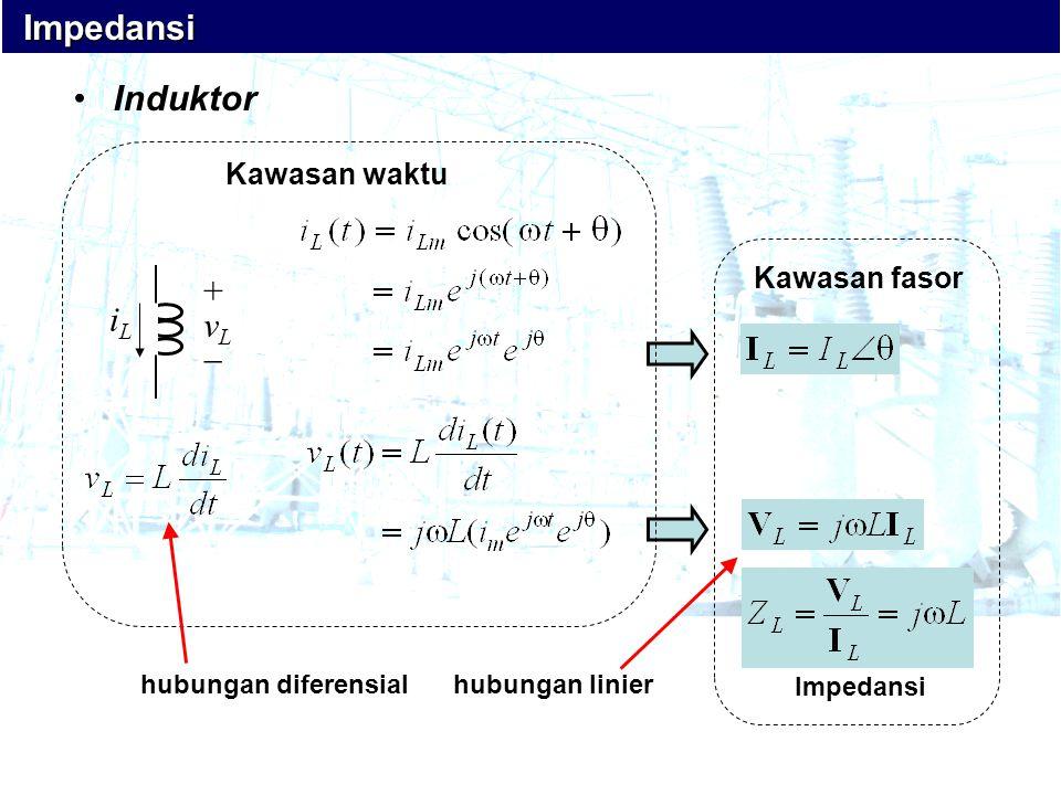 •Induktor Impedansi Impedansi iLiL + v L  Kawasan fasor Impedansi Kawasan waktu hubungan diferensialhubungan linier