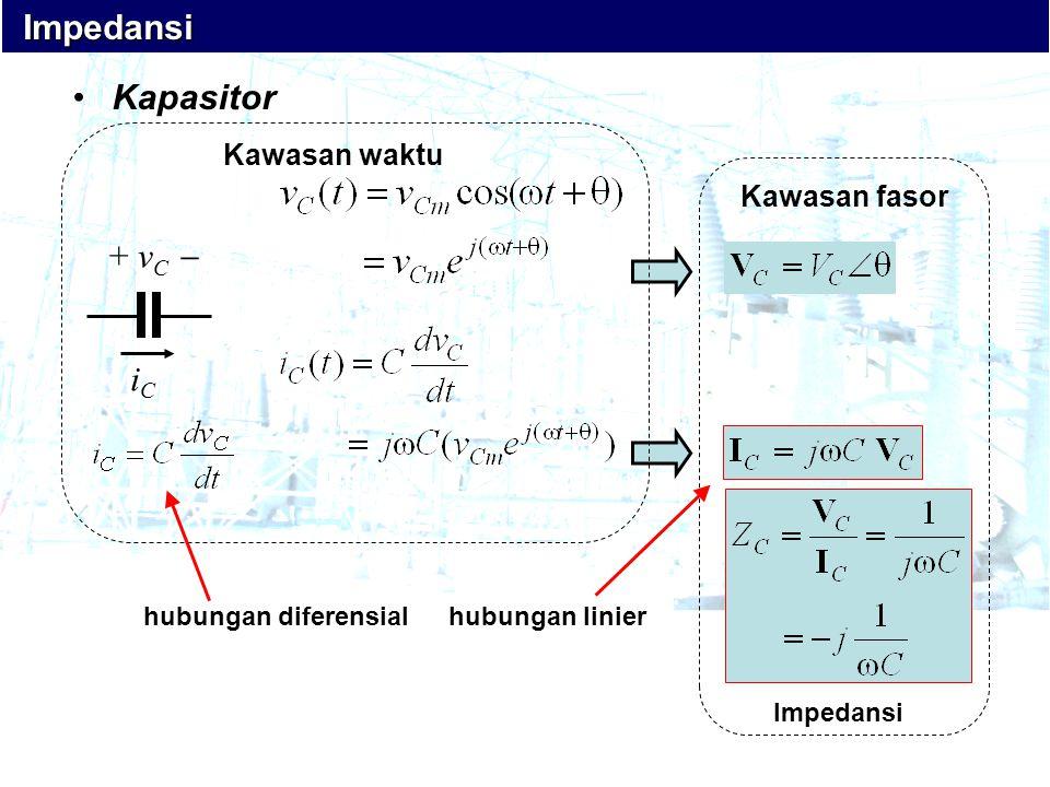 •Kapasitor iCiC + v C  ` Kawasan fasor Impedansi Impedansi Impedansi Kawasan waktu hubungan diferensialhubungan linier