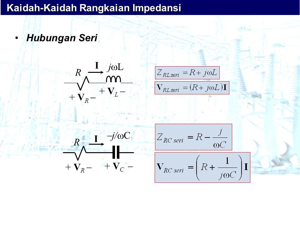 R + V R  I + V L  jLjL + V C  R j/Cj/C + V R  I •Hubungan Seri Kaidah-Kaidah Rangkaian Impedansi Kaidah-Kaidah Rangkaian Impedansi