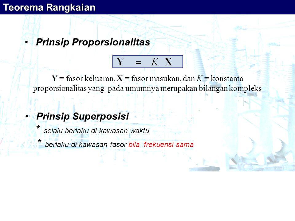 •Prinsip Proporsionalitas Y = fasor keluaran, X = fasor masukan, dan K = konstanta proporsionalitas yang pada umumnya merupakan bilangan kompleks •Pri