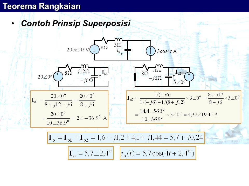 •Contoh Prinsip Superposisi 20cos4t V + _ 88 3cos4t A ioio 3H 20  0 o + _ 88  j6  I o1 j12  88 30o30o  j6  I o2 j12  Teorema Rangkaian