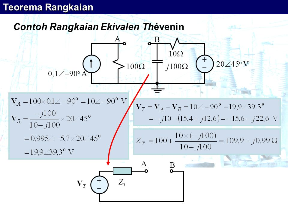 ++  j100  10  100  0,1  90 o A 20  45 o V ` A B Contoh Rangkaian Ekivalen Thévenin ++ VTVT ZTZT A B Teorema Rangkaian