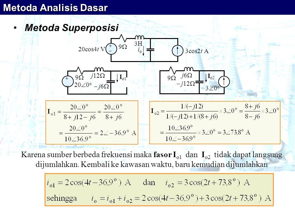 •Metoda Superposisi Karena sumber berbeda frekuensi maka fasor I o1 dan I o2 tidak dapat langsung dijumlahkan. Kembali ke kawasan waktu, baru kemudian