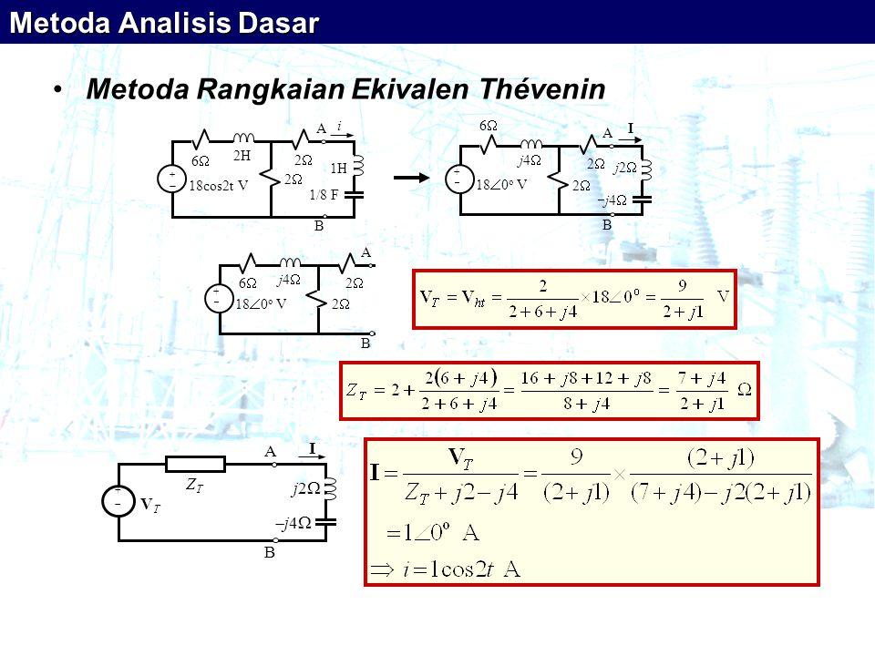 •Metoda Rangkaian Ekivalen Thévenin ++ 18cos2t V i 66 22 2  1H A B 2H 1/8 F ++ 18  0 o V 66 22 A B j4 j4 j2 j2 j4  I 22 ++ 18  0 o V 66 22 A B j4  22 ++ V T I A B j4 j4 Z T j2 j2 Metoda Analisis Dasar