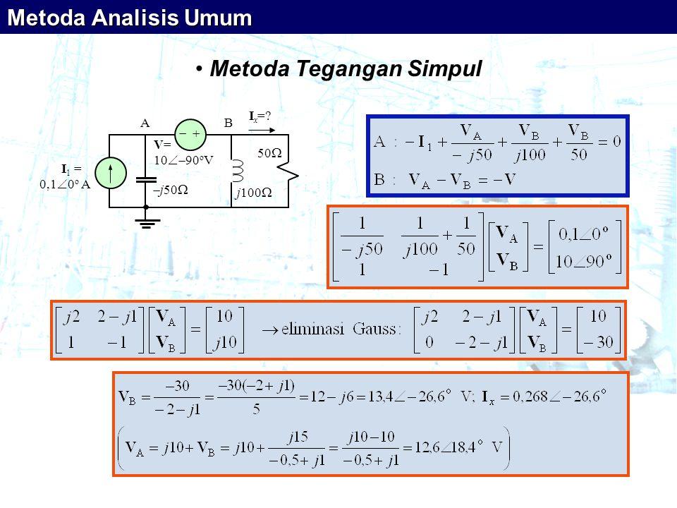 • Metoda Tegangan Simpul   I 1 = 0,1  0 o A V= 10  90 o V  j50  j100  50  I x =? AB Metoda Analisis Umum