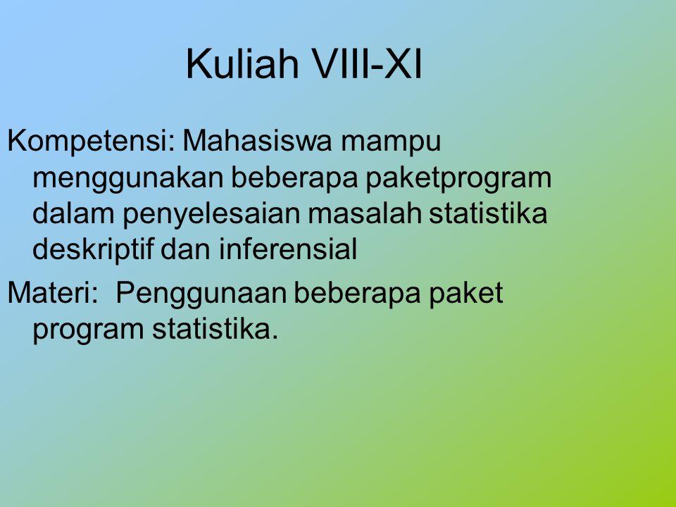 Kuliah VIII-XI Kompetensi: Mahasiswa mampu menggunakan beberapa paketprogram dalam penyelesaian masalah statistika deskriptif dan inferensial Materi: Penggunaan beberapa paket program statistika.