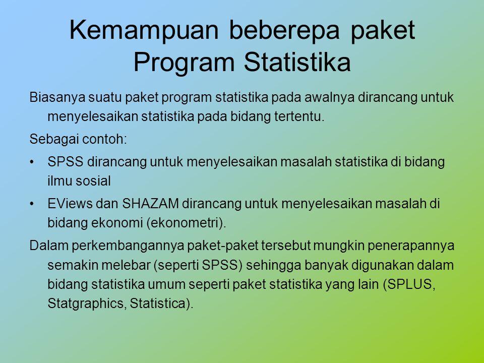 Kemampuan beberepa paket Program Statistika Biasanya suatu paket program statistika pada awalnya dirancang untuk menyelesaikan statistika pada bidang tertentu.