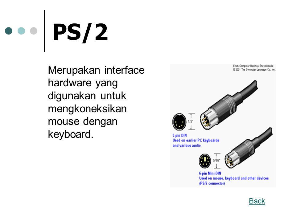 PS/2 Merupakan interface hardware yang digunakan untuk mengkoneksikan mouse dengan keyboard. Back