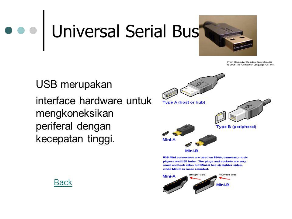 Universal Serial Bus USB merupakan interface hardware untuk mengkoneksikan periferal dengan kecepatan tinggi. Back