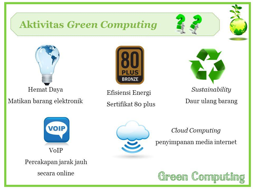 Aktivitas Green Computing Cloud Computing penyimpanan media internet VoIP Percakapan jarak jauh secara online Sustainability Daur ulang barang Efisien
