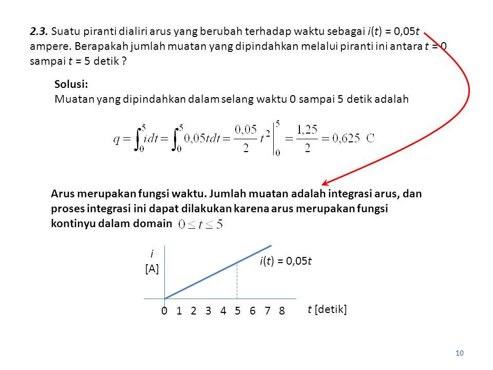 2.3. Suatu piranti dialiri arus yang berubah terhadap waktu sebagai i(t) = 0,05t ampere. Berapakah jumlah muatan yang dipindahkan melalui piranti ini