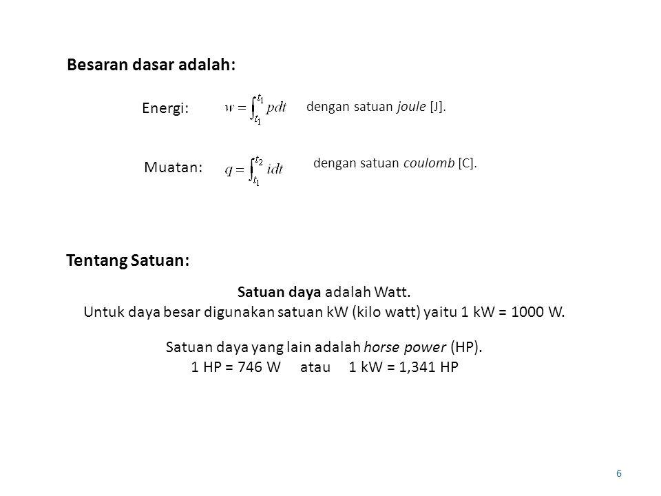 6 Besaran dasar adalah: dengan satuan joule [J]. Energi: dengan satuan coulomb [C]. Muatan: Tentang Satuan: Satuan daya adalah Watt. Untuk daya besar