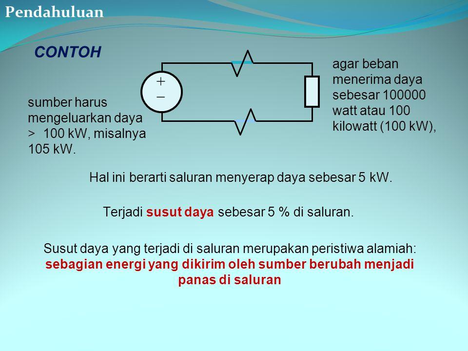 ++ CONTOH sumber harus mengeluarkan daya > 100 kW, misalnya 105 kW. Hal ini berarti saluran menyerap daya sebesar 5 kW. Terjadi susut daya sebesar 5