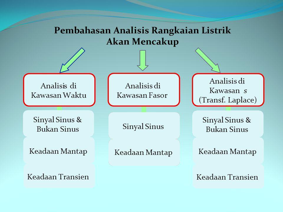 Pembahasan Analisis Rangkaian Listrik Akan Mencakup Sinyal Sinus & Bukan Sinus Keadaan Mantap Keadaan Transien Analisis di Kawasans (Transf.Laplace) S