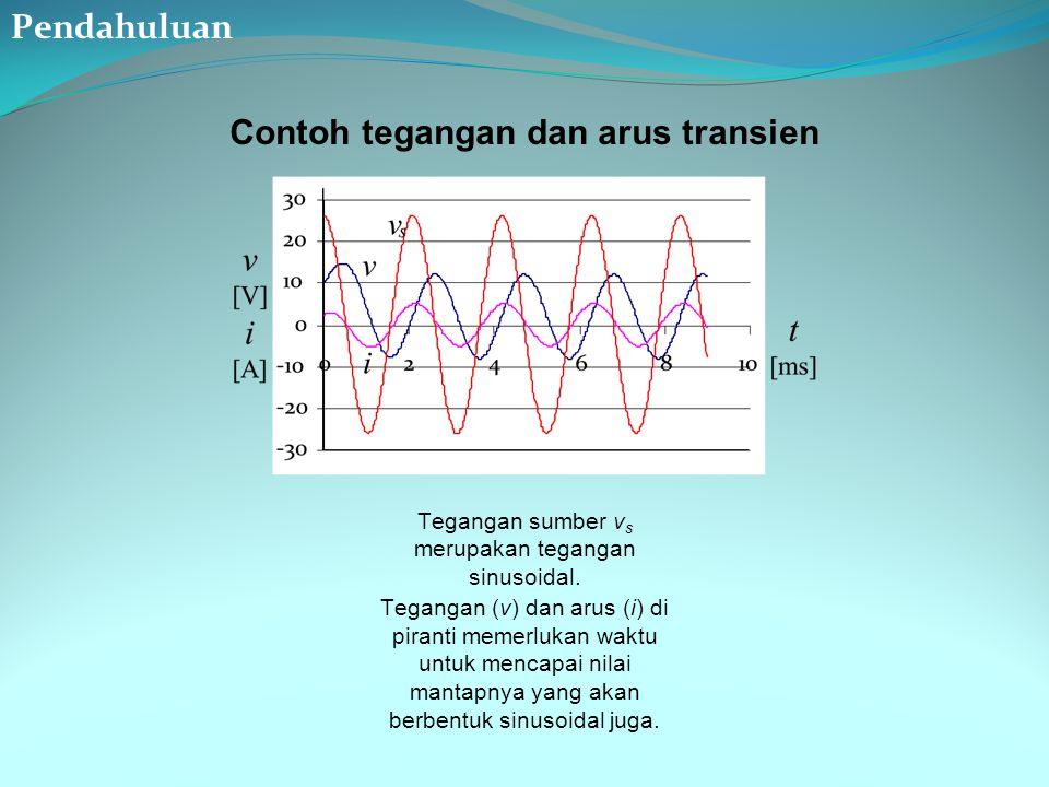Tegangan sumber v s merupakan tegangan sinusoidal. Tegangan (v) dan arus (i) di piranti memerlukan waktu untuk mencapai nilai mantapnya yang akan berb