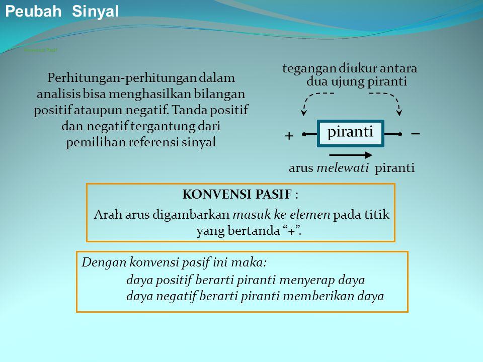 Konvensi Pasif piranti +  tegangan diukur antara dua ujung piranti arus melewati piranti Dengan konvensi pasif ini maka: daya positif berarti piranti