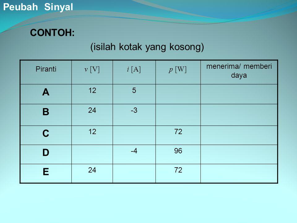 Piranti v [V]i [A]p [W] menerima/ memberi daya A 125 B 24-3 C 1272 D -496 E 2472 (isilah kotak yang kosong) CONTOH: Peubah Sinyal