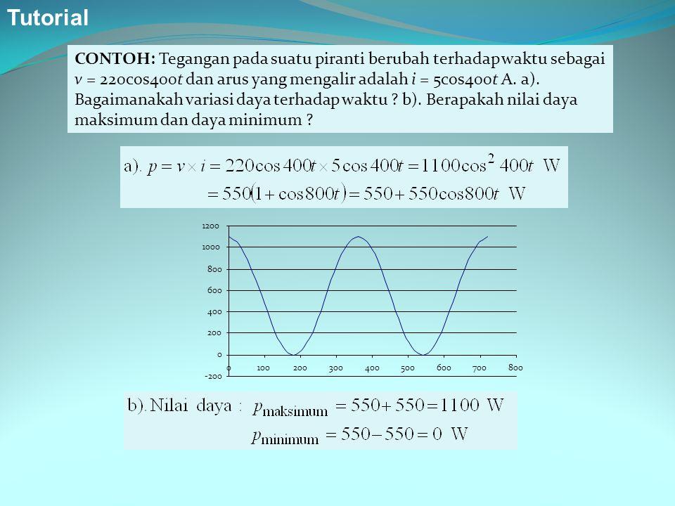 CONTOH: Tegangan pada suatu piranti berubah terhadap waktu sebagai v = 220cos400t dan arus yang mengalir adalah i = 5cos400t A. a). Bagaimanakah varia