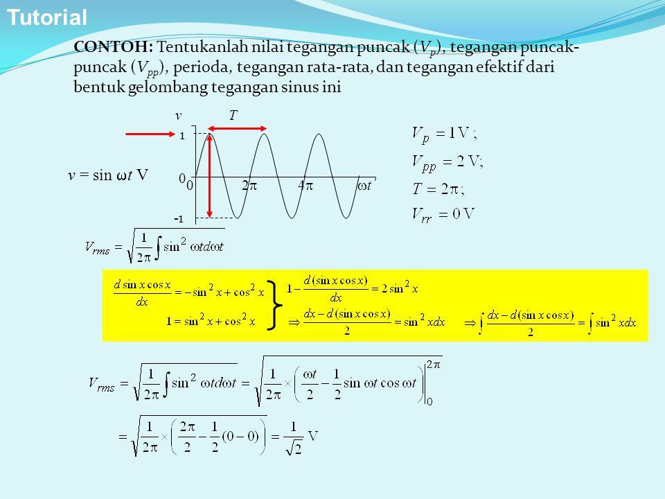CONTOH: Tentukanlah nilai tegangan puncak (V p ), tegangan puncak- puncak (V pp ), perioda, tegangan rata-rata, dan tegangan efektif dari bentuk gelom